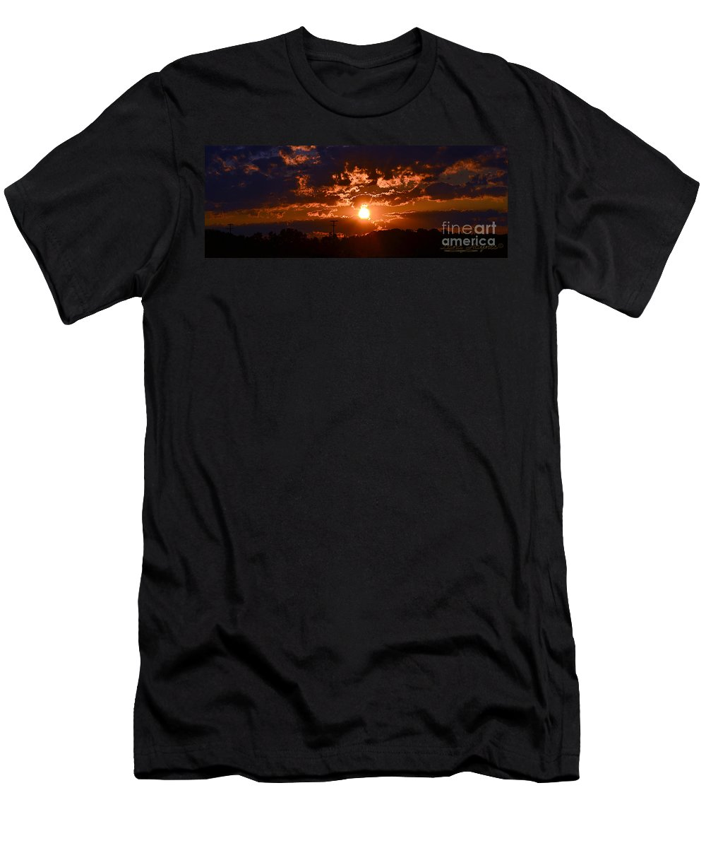 Sun Set Orange Blue Sky Sunset Dawn Morning Light Bright Lite Pagen Skyline Ohio Zanesville Men's T-Shirt (Athletic Fit) featuring the photograph The Big Picture by Dana Haynes