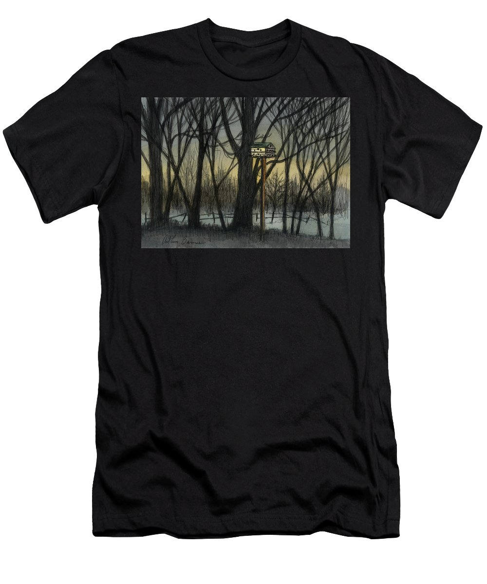 Landscape Men's T-Shirt (Athletic Fit) featuring the painting The Bird House by Arthur Barnes