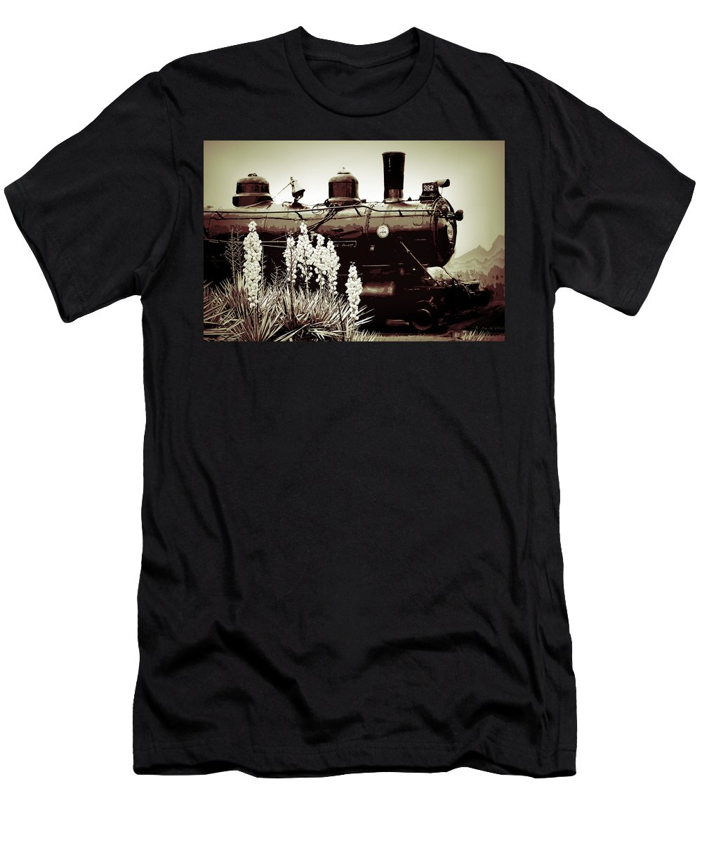 Old Train Men's T-Shirt (Athletic Fit) featuring the photograph The Black Steam Engine by Bonnie Willis