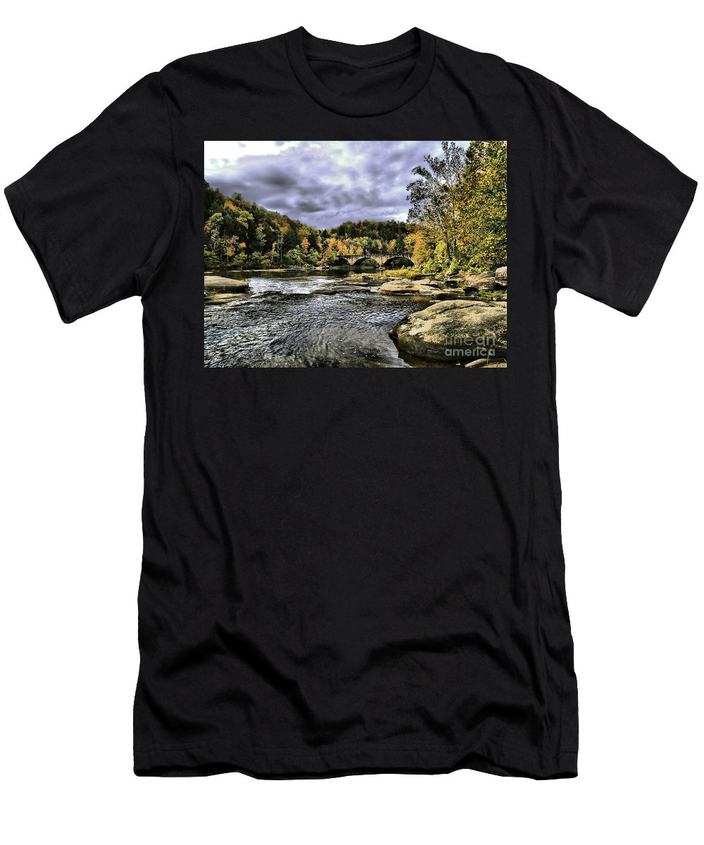 Rural Men's T-Shirt (Athletic Fit) featuring the photograph The Bridge by Ken Frischkorn