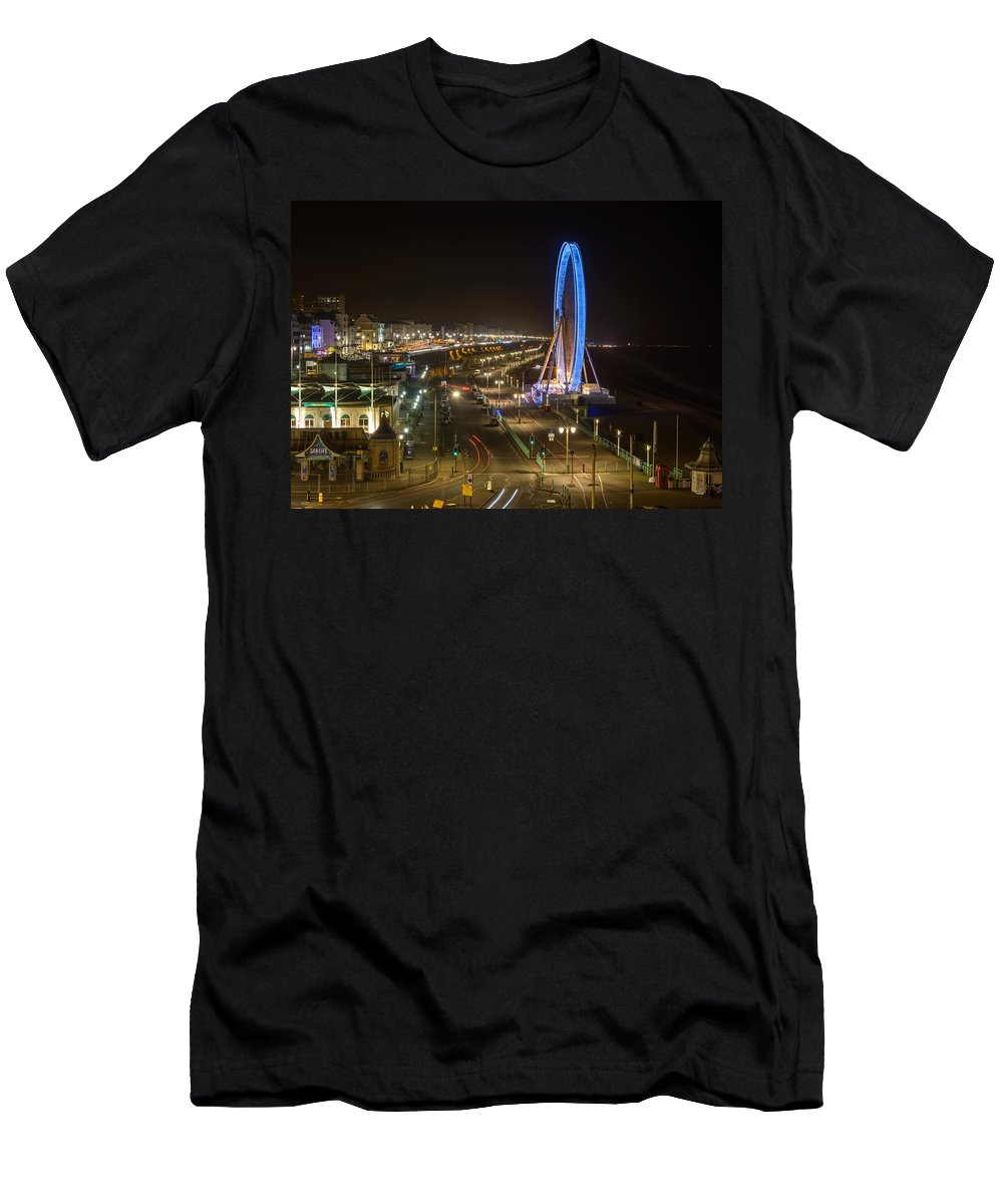 Ferris Wheel Men's T-Shirt (Athletic Fit) featuring the photograph The Brighton Wheel At Night by Dutourdumonde Photography