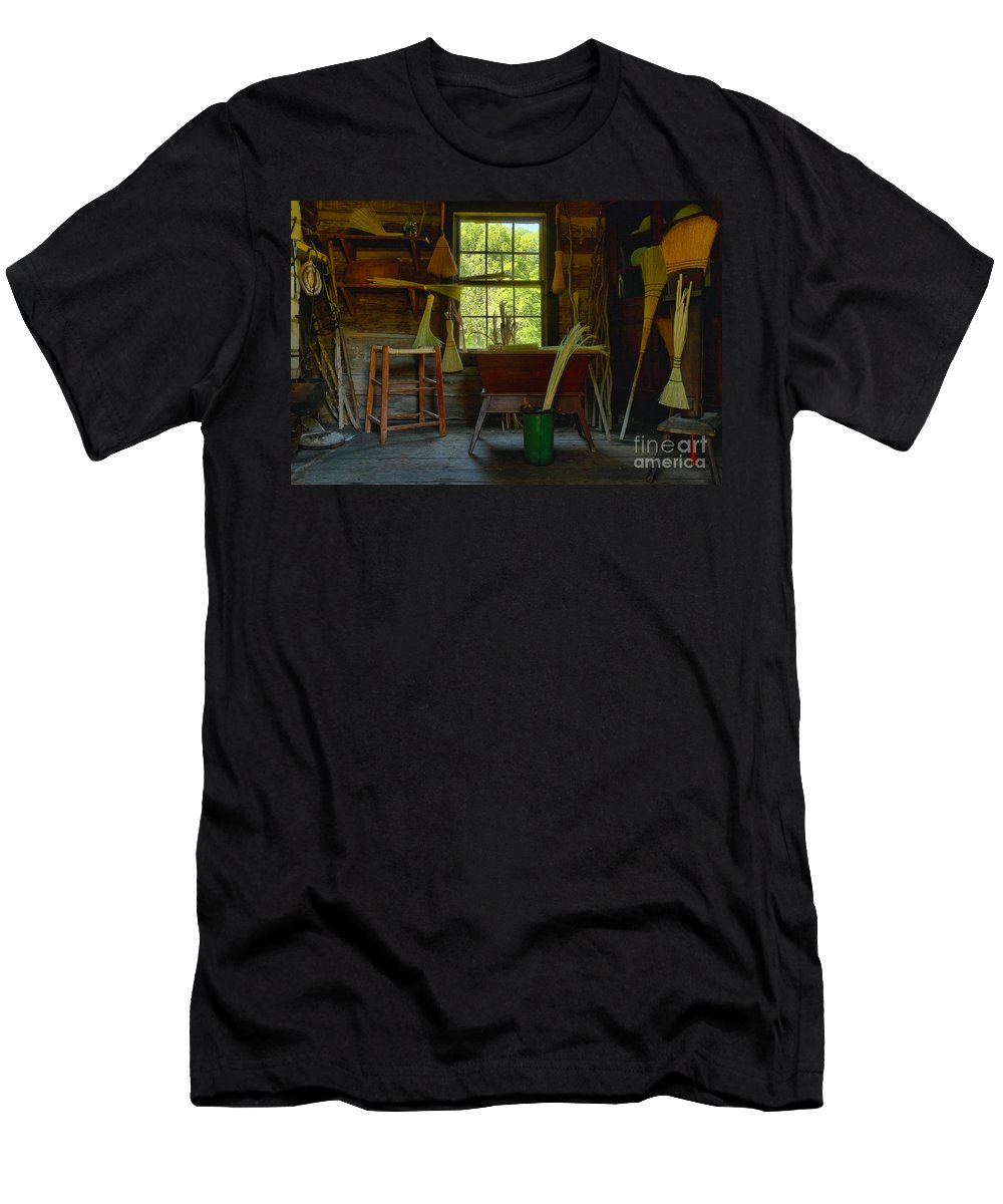 Brooms Men's T-Shirt (Athletic Fit) featuring the photograph The Broom Room by Adam Jewell