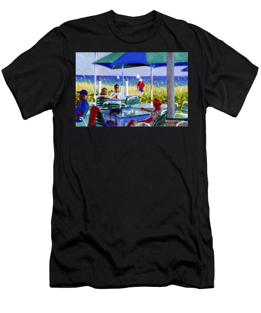 Delray Beach Men's T-Shirt (Athletic Fit) featuring the painting The Cabana Club by Candace Lovely