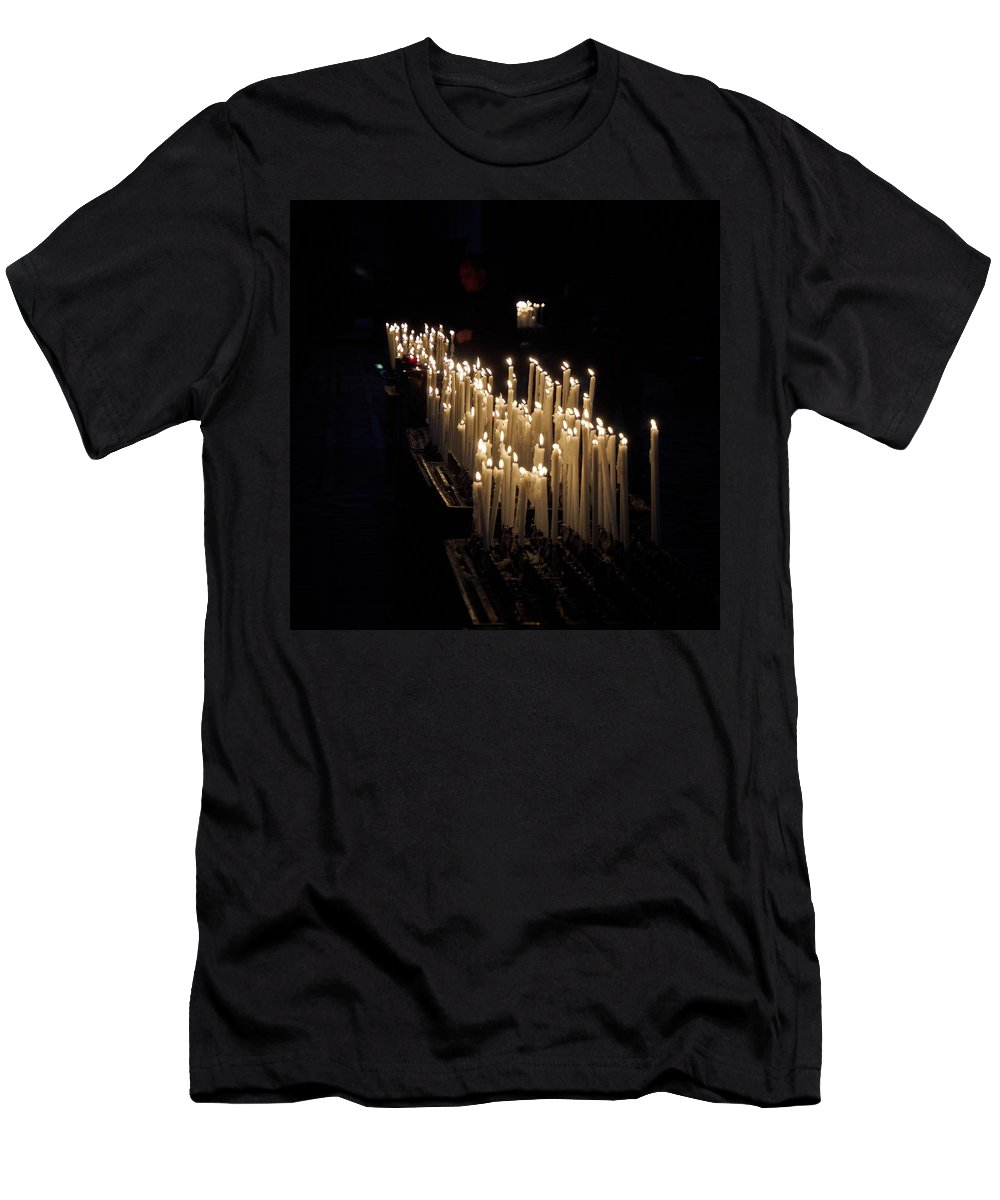 Francacorta Men's T-Shirt (Athletic Fit) featuring the photograph The Candles. Duomo. Milan by Jouko Lehto