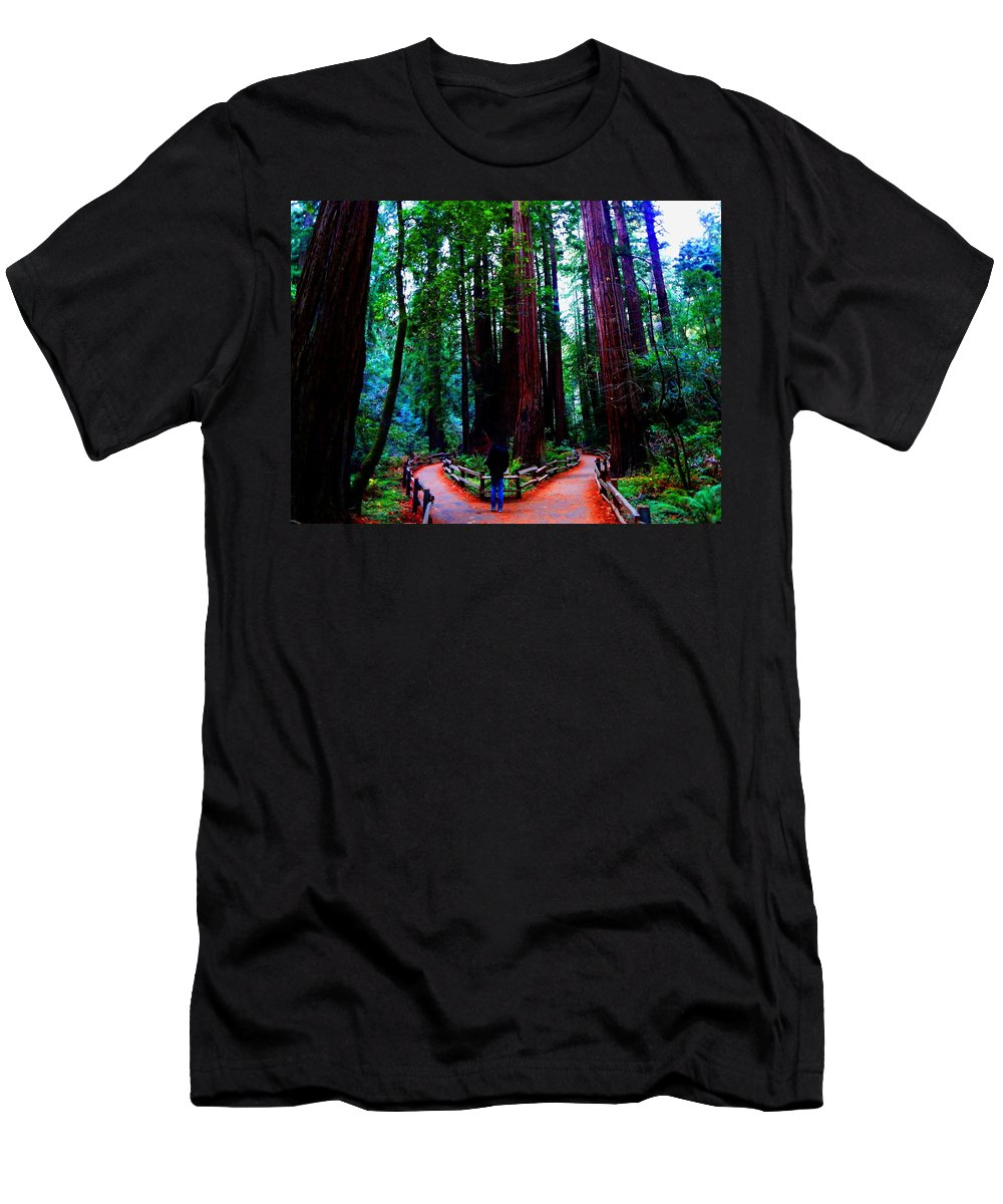 Muir Woods National Monument Men's T-Shirt (Athletic Fit) featuring the photograph The Cathedral by Cathleen Cario-Reece