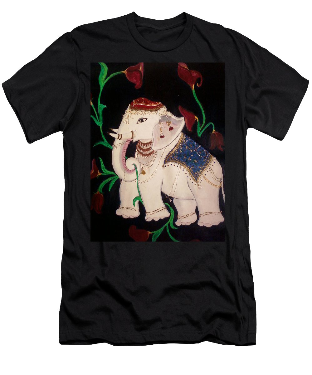 Elephant Men's T-Shirt (Athletic Fit) featuring the painting The Celestial Elephant by Uma Swaminathan