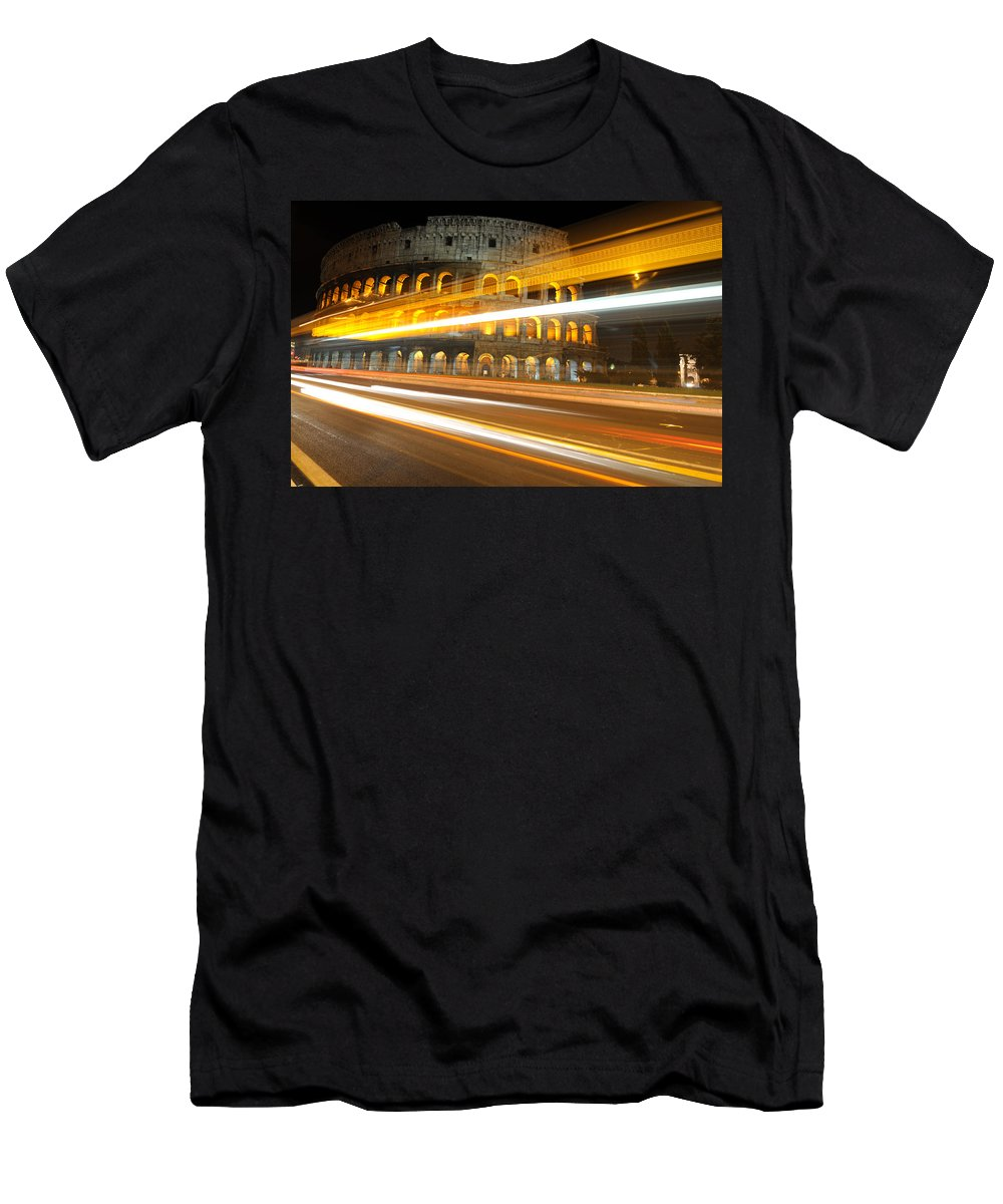 Coliseum Men's T-Shirt (Athletic Fit) featuring the photograph The Colosseum Lights by Jeremy Voisey