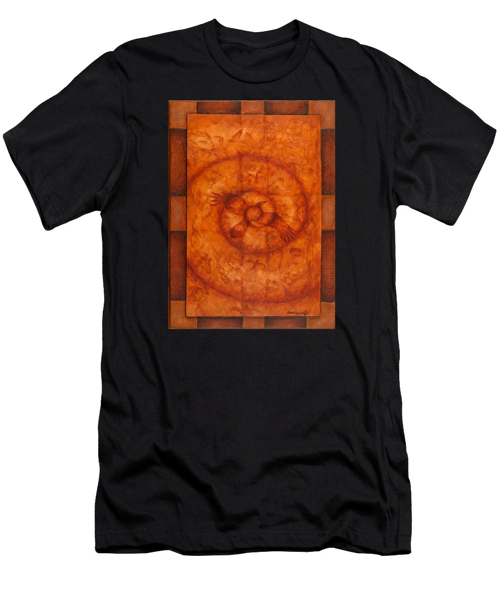 Native American Men's T-Shirt (Athletic Fit) featuring the painting The Crow Has Brought The Message by Kevin Chasing Wolf Hutchins