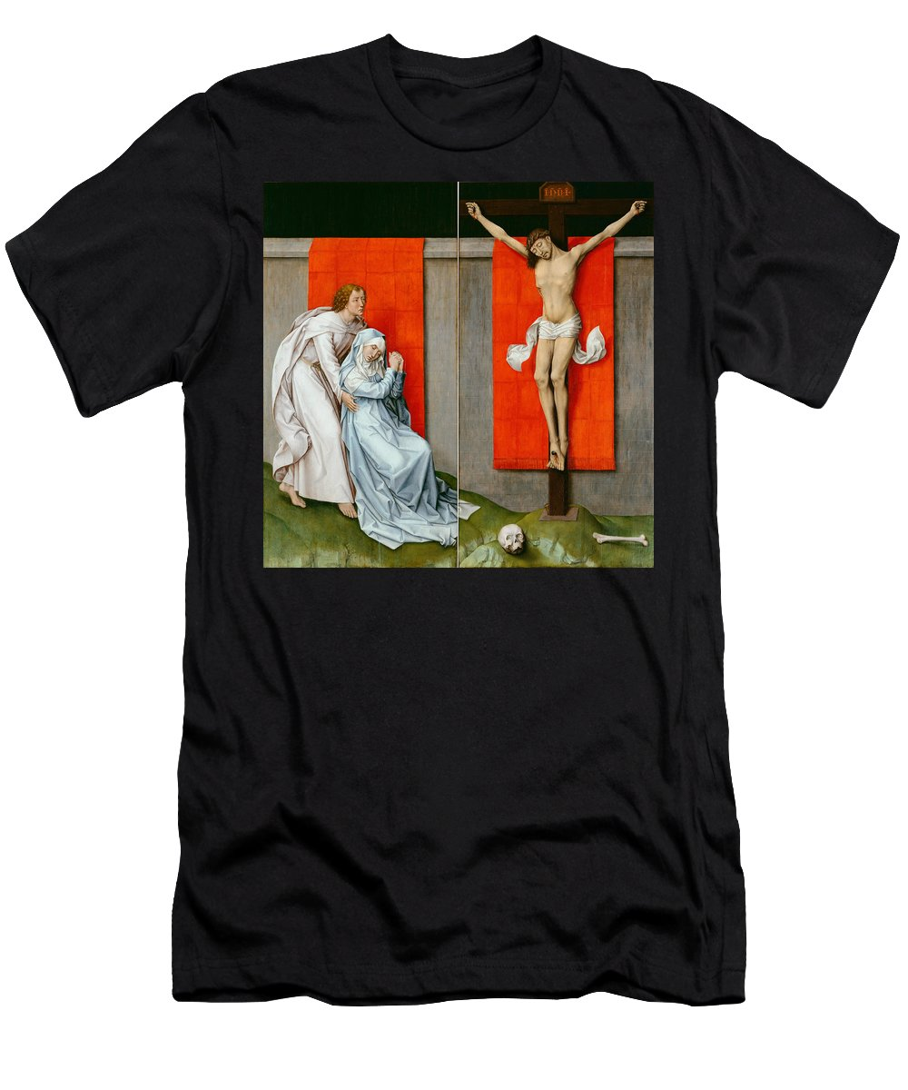 Rogier Van Der Weyden Men's T-Shirt (Athletic Fit) featuring the painting The Crucifixion With The Virgin And Saint John The Evangelist Mourning by Rogier van der Weyden