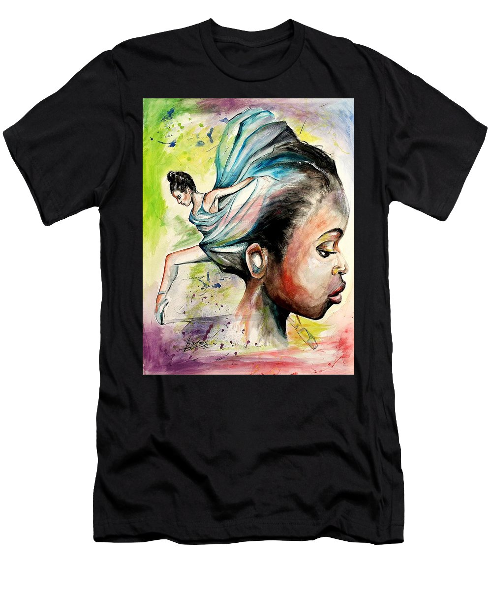 African American Art Men's T-Shirt (Athletic Fit) featuring the painting The Dancer In Me by Henry Blackmon
