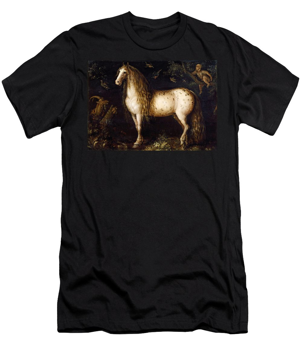 Roelant Savery Men's T-Shirt (Athletic Fit) featuring the painting The Dapple-grey by Roelant Savery