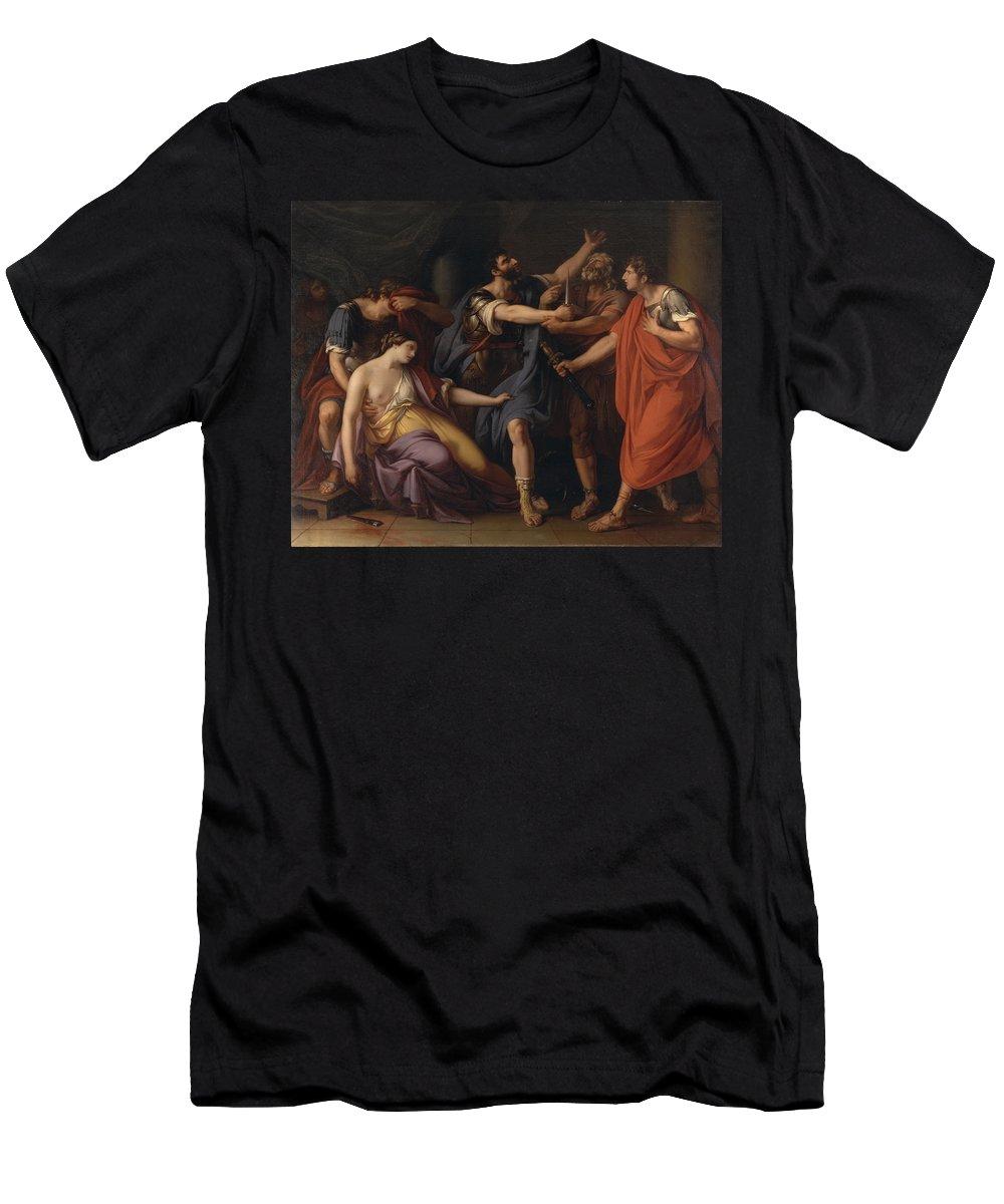 Gavin Hamilton Men's T-Shirt (Athletic Fit) featuring the painting The Death Of Lucretia by Gavin Hamilton