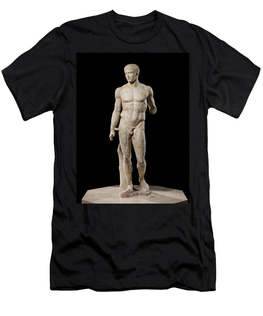 The Doryphoros Of Polykleitos Men's T-Shirt (Athletic Fit) featuring the photograph The Doryphoros Of Polykleitos by Roman School
