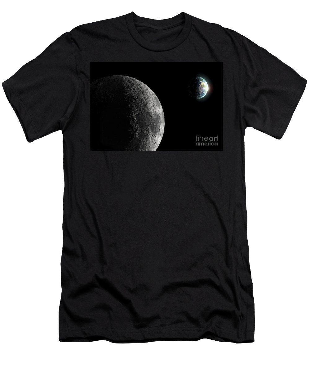 Space Men's T-Shirt (Athletic Fit) featuring the photograph The Earth And Moon by Science Picture Co