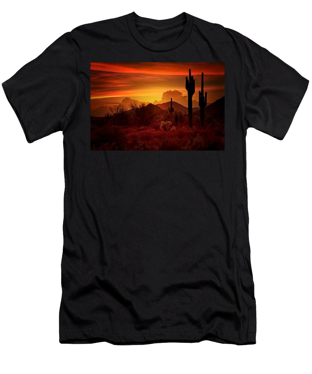 Desert Southwest Men's T-Shirt (Athletic Fit) featuring the photograph The Essence Of The Southwest by Saija Lehtonen