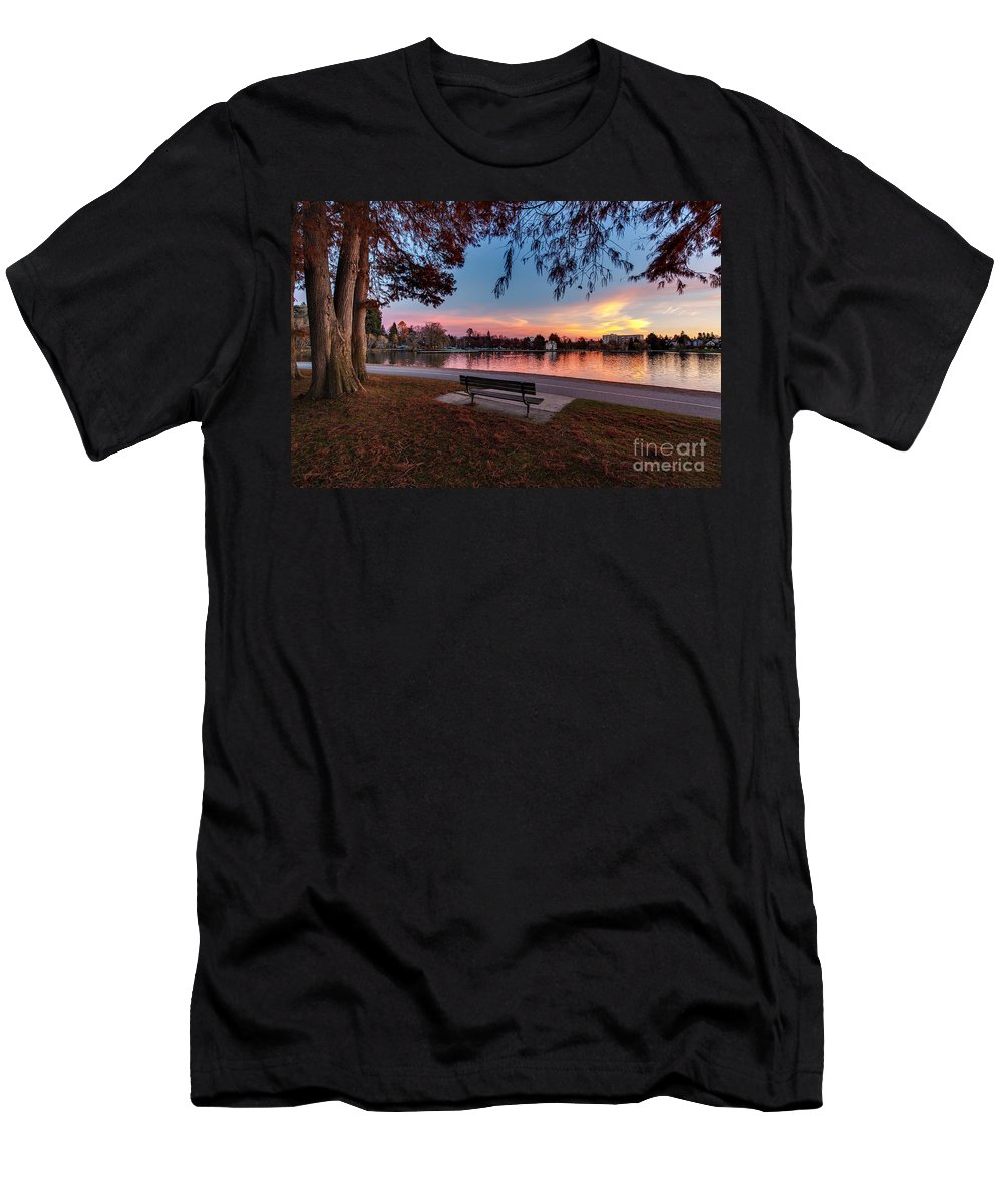 Greenlake Men's T-Shirt (Athletic Fit) featuring the photograph The Evening View Revisited by Mike Reid