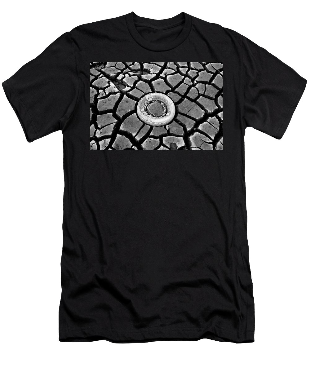 Dry Lake Bed Men's T-Shirt (Athletic Fit) featuring the photograph The Eye Of The Lake Black And White by Teri Schuster