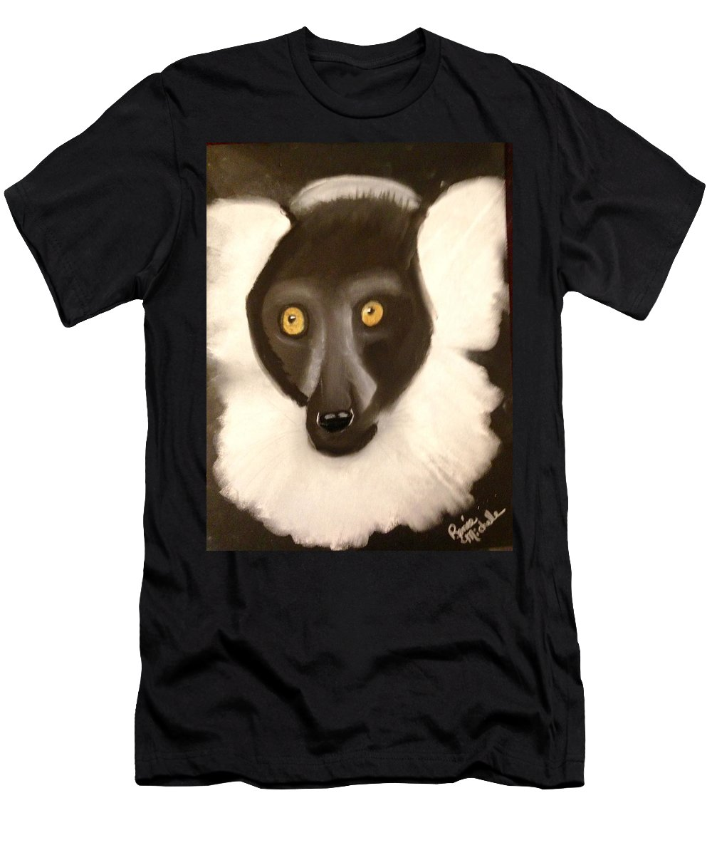 Lemur Men's T-Shirt (Athletic Fit) featuring the pastel The Face Of A Lemur by Renee Michelle Wenker