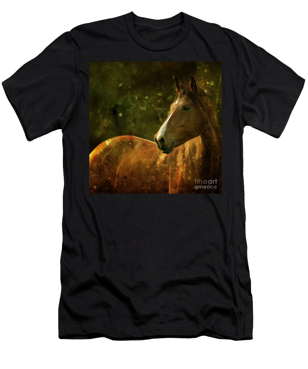 Horse Men's T-Shirt (Athletic Fit) featuring the photograph The Fairytale Horse by Angel Ciesniarska