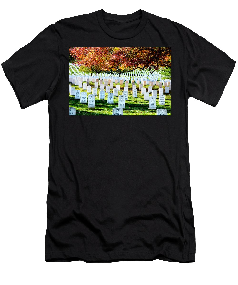 Arlington Cemetery Men's T-Shirt (Athletic Fit) featuring the photograph The Fall by Greg Fortier
