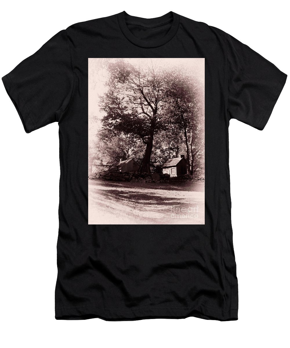 Black And White Men's T-Shirt (Athletic Fit) featuring the photograph The Farm Bristol Rhode Island by Tom Prendergast