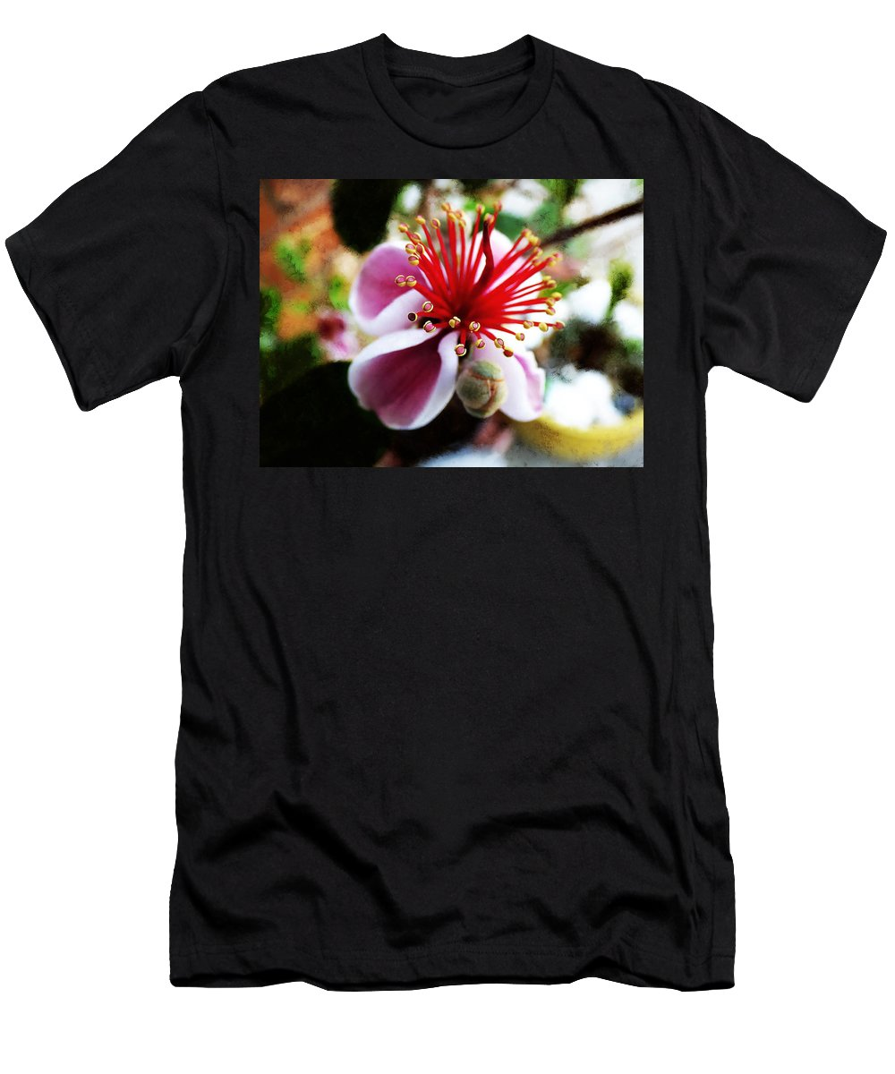 Close Up Men's T-Shirt (Athletic Fit) featuring the photograph the Feijoa Blossom by Steve Taylor