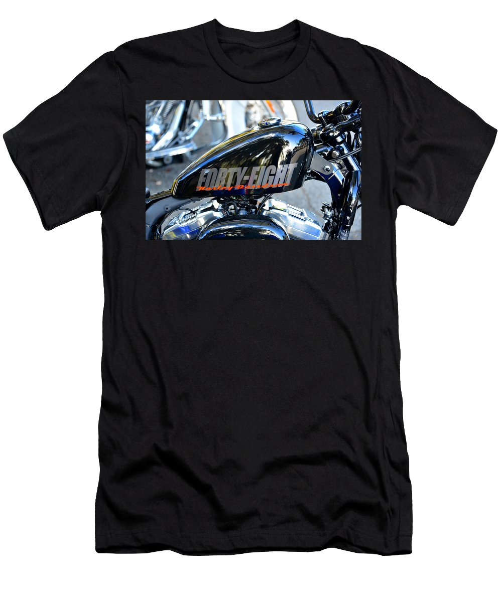 Harley Davidson Motorcycle Men's T-Shirt (Athletic Fit) featuring the photograph The Flying Forty Eight by David Lee Thompson
