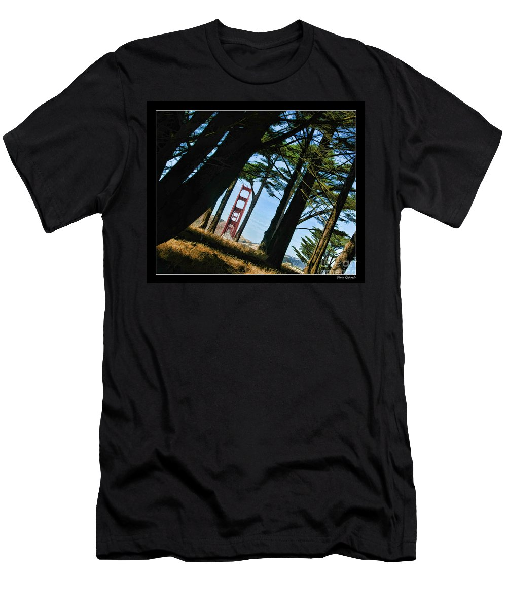 Golden Gate Bridge Men's T-Shirt (Athletic Fit) featuring the photograph The Forest Of The Golden Gate by Blake Richards