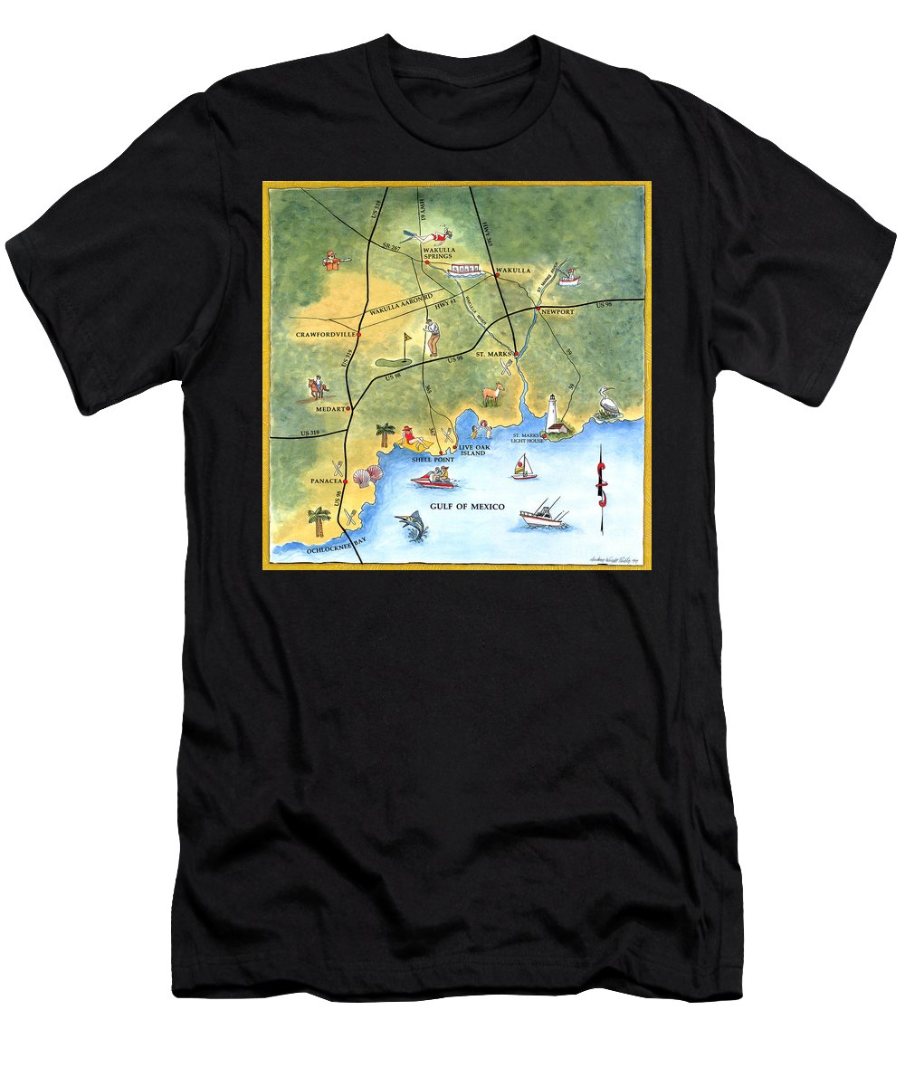 Forgotten Coast Men's T-Shirt (Athletic Fit) featuring the painting The Forgotten Coast St. Marks by Audrey Peaty