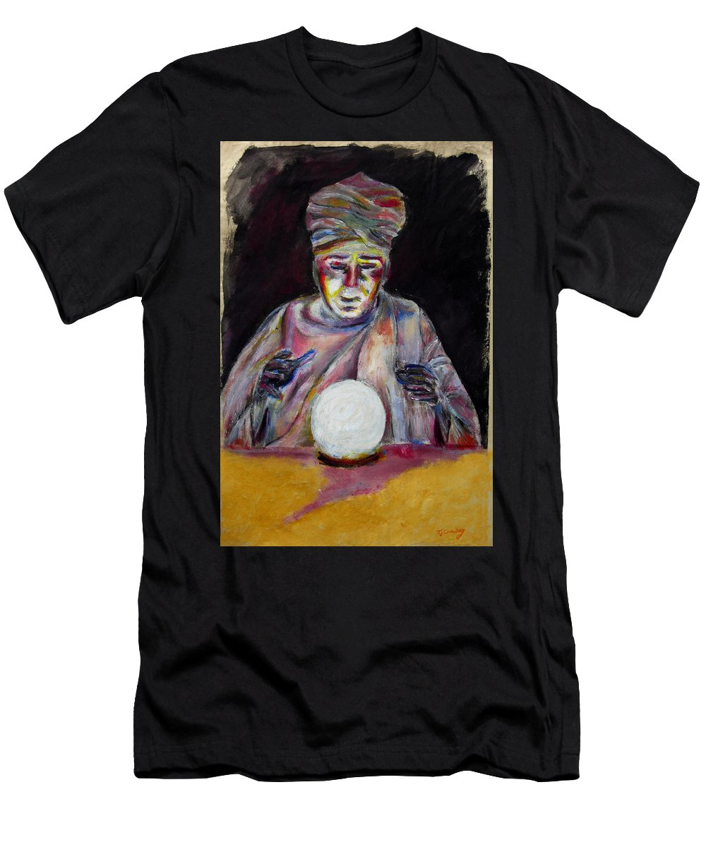 Fortune Tellers Men's T-Shirt (Athletic Fit) featuring the painting The Fortune Teller by Tom Conway