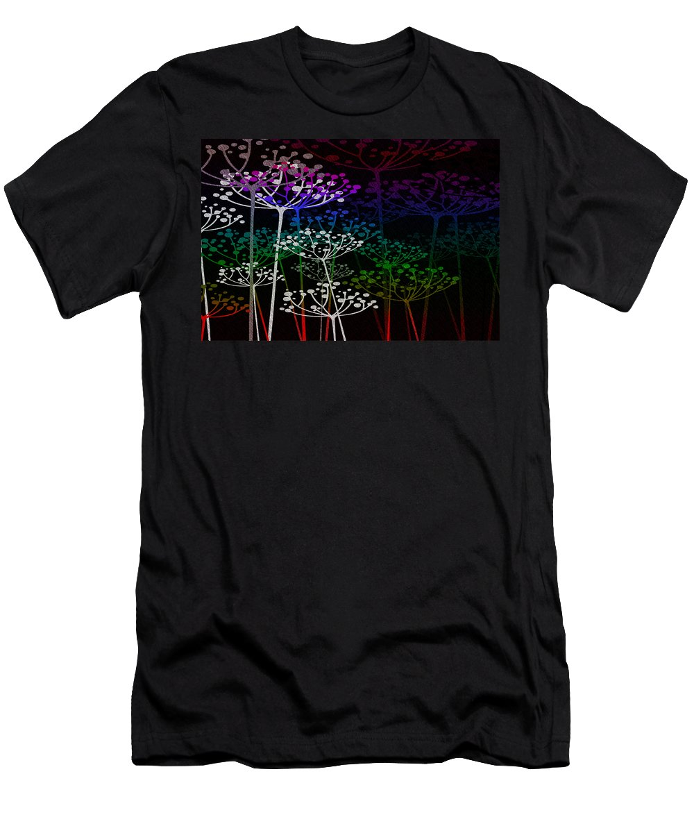 Fred Mefeely Rogers Men's T-Shirt (Athletic Fit) featuring the mixed media The Garden Of Your Mind Rainbow 2 by Angelina Vick