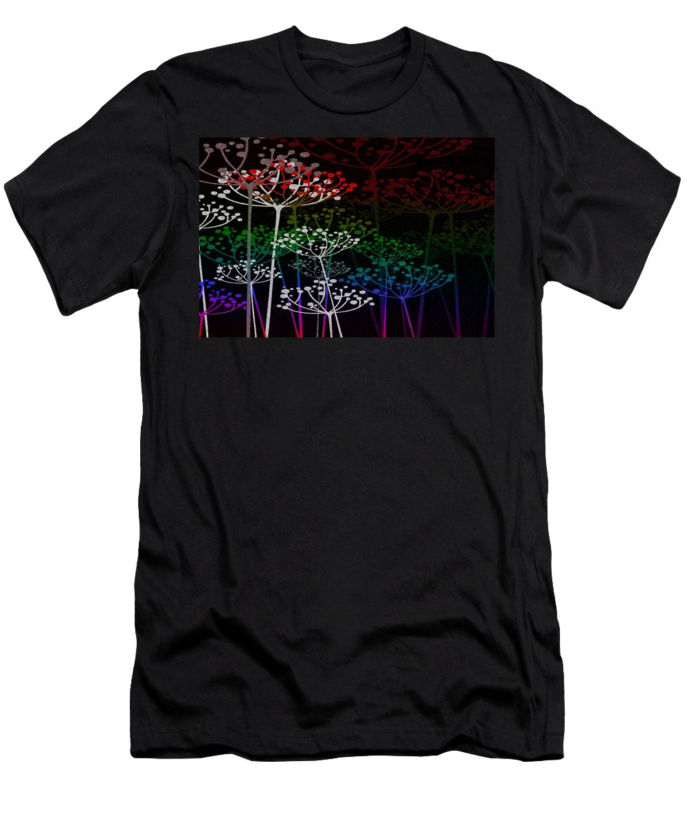 Fred Mefeely Rogers Men's T-Shirt (Athletic Fit) featuring the mixed media The Garden Of Your Mind Rainbow 3 by Angelina Vick