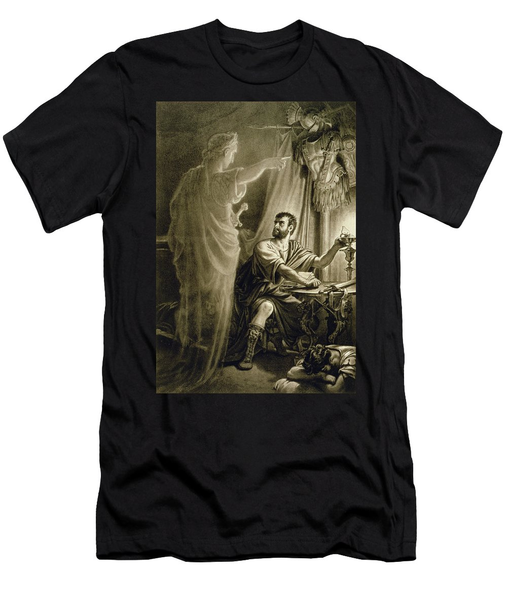 Murderer Men's T-Shirt (Athletic Fit) featuring the drawing The Ghost Of Julius Caesar, In The Play by English School