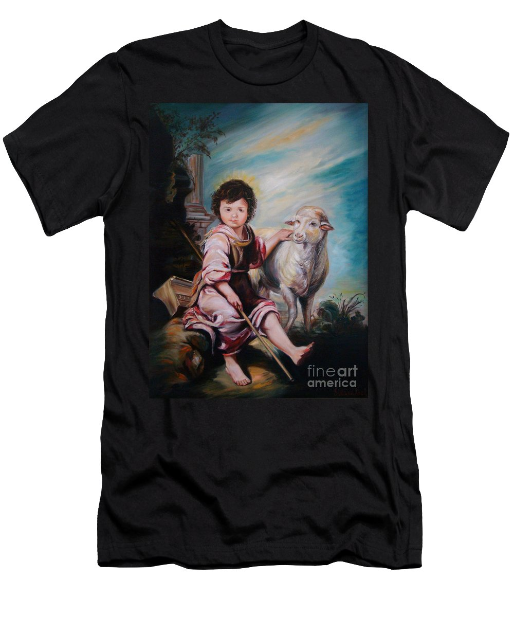 Classic Art Men's T-Shirt (Athletic Fit) featuring the painting The Good Shepherd by Silvana Abel