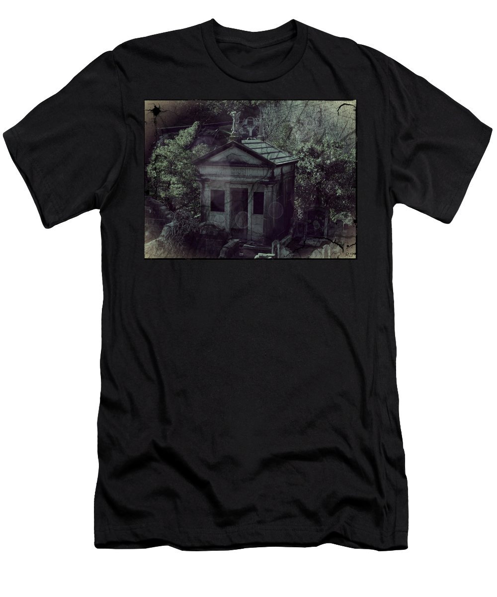 Gothic Men's T-Shirt (Athletic Fit) featuring the digital art The Gothic Cemetery by Absinthe Art By Michelle LeAnn Scott