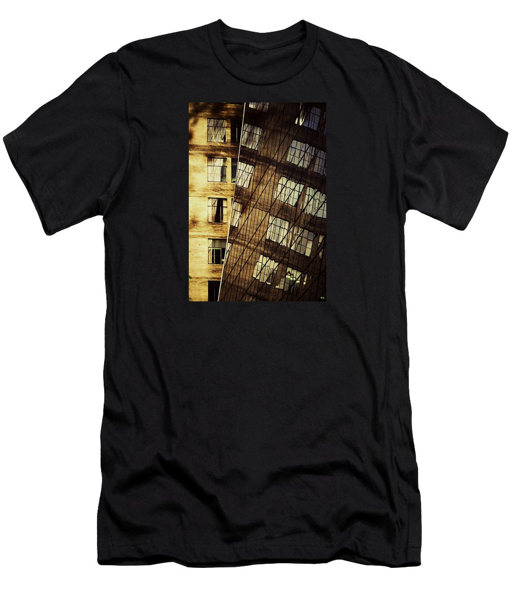 New York Art Glass Yellow Bricks Windows Reflected In Windows Browns And Yellows Manhattan Dramatic Angle Outdoors Surreal Reflections Whimsical Vertical Visions Urban Metal Frame Poster Print Canvas Print Available On T Shirts Mugs Tote Bags Shower Curtains Greeting Cards And Phone Cases Men's T-Shirt (Athletic Fit) featuring the photograph Surrealism At The Grace Building New York by Marcus Dagan