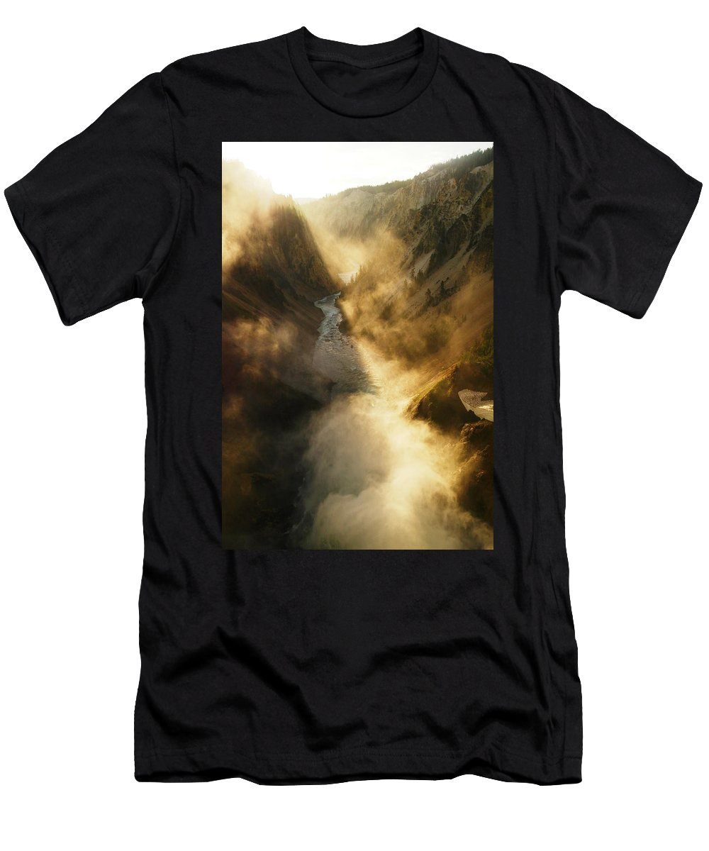 Views Men's T-Shirt (Athletic Fit) featuring the photograph The Grand Canyon Of Yellowstone by Jeff Swan