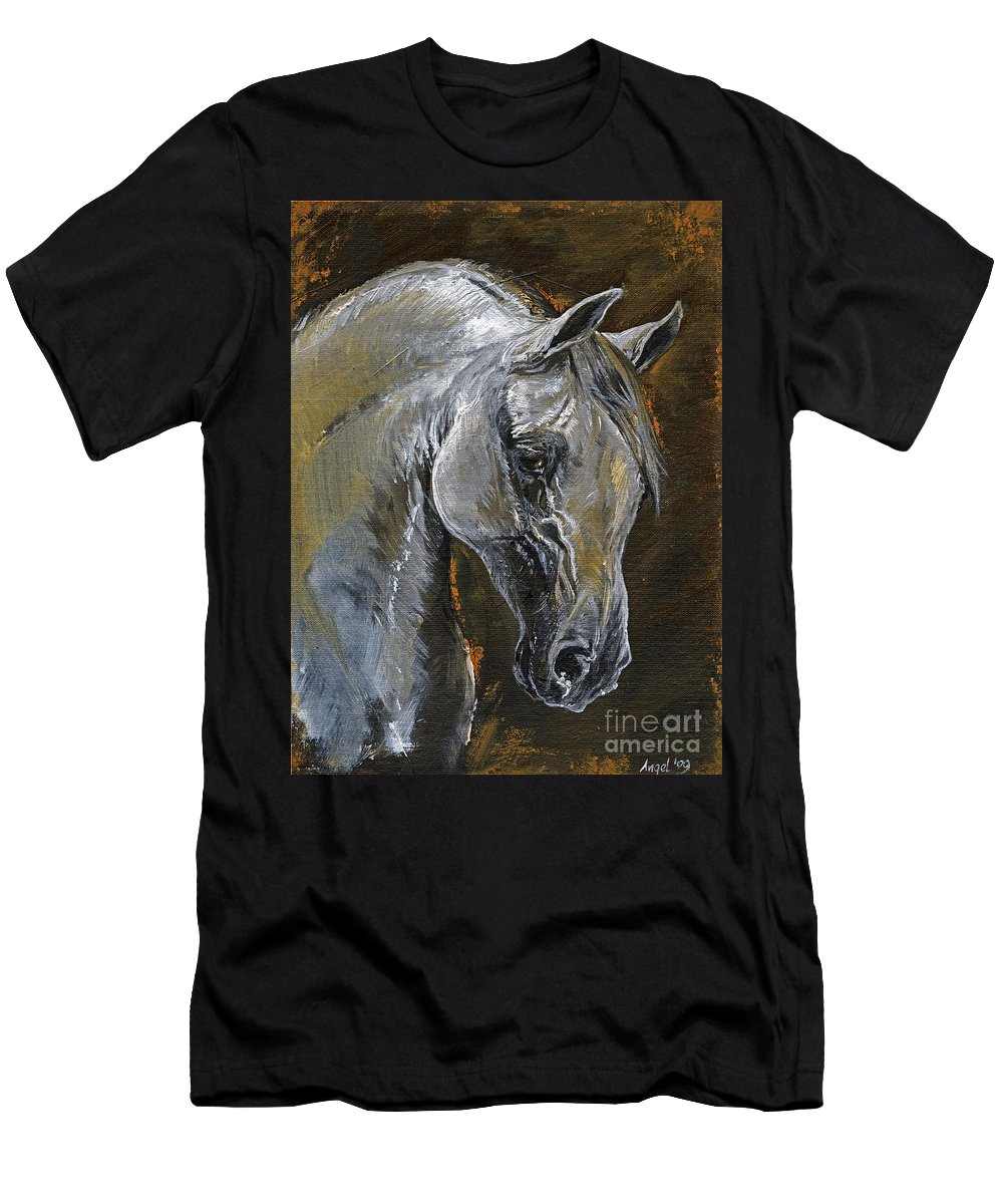 Grey Horse Men's T-Shirt (Athletic Fit) featuring the painting The Grey Arabian Horse Oil Painting by Angel Ciesniarska