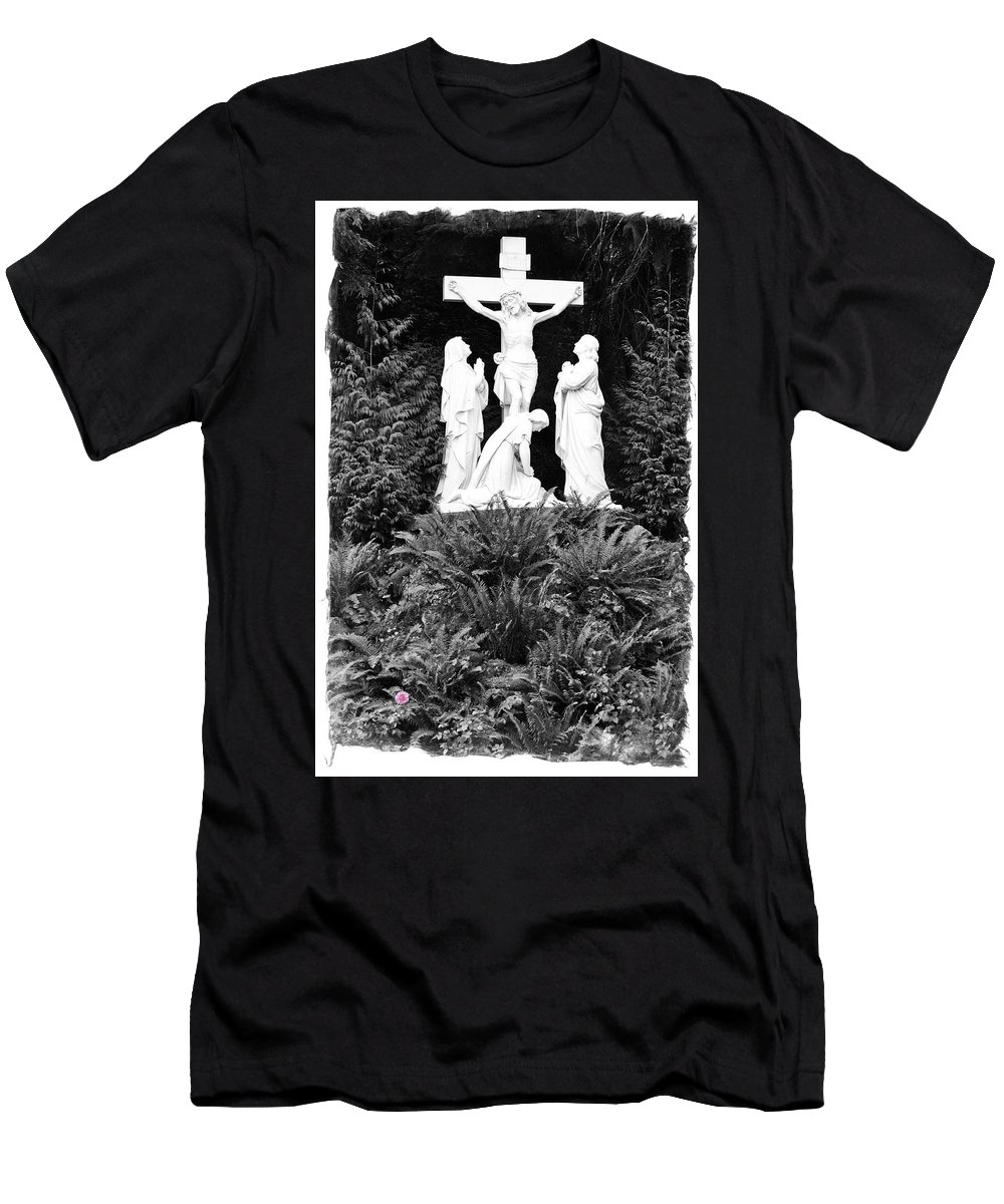 Portland Men's T-Shirt (Athletic Fit) featuring the photograph The Grotto - Calvary Scene With Border by Image Takers Photography LLC - Carol Haddon