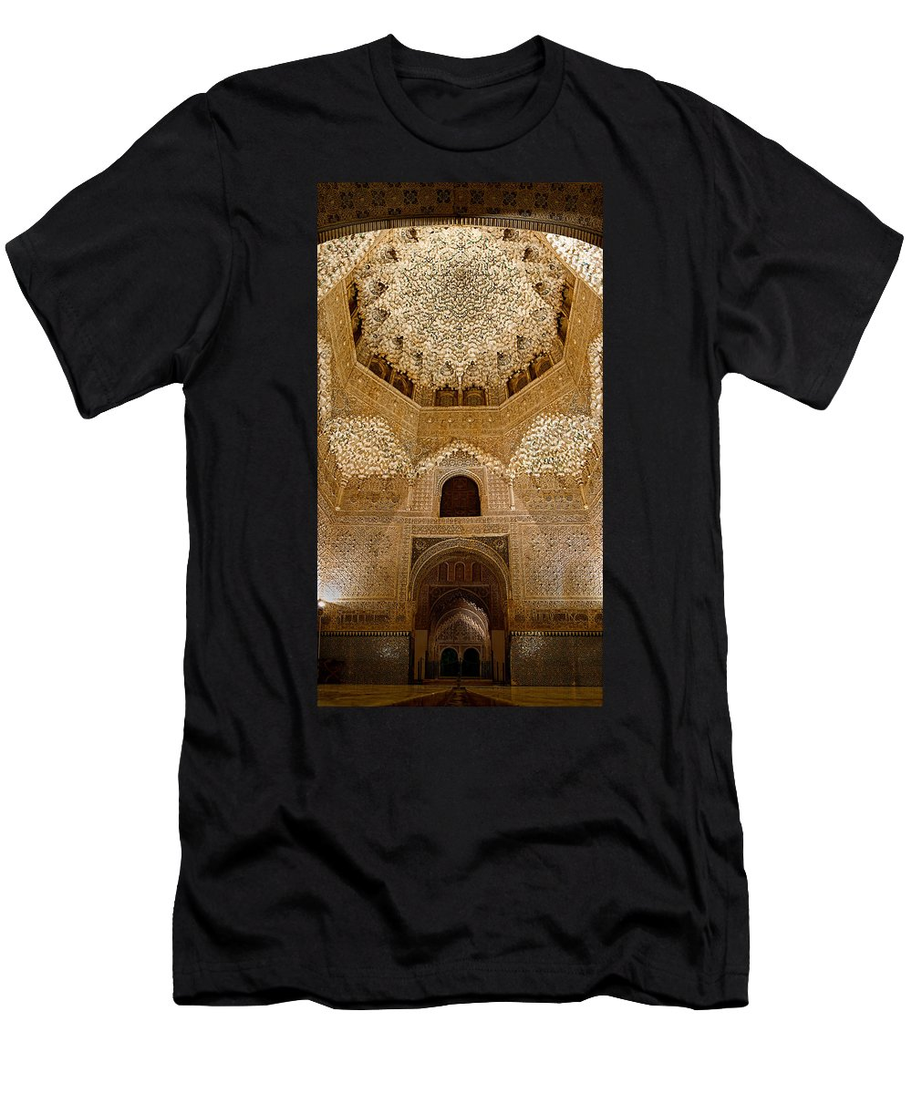 Alhambra Men's T-Shirt (Athletic Fit) featuring the photograph The Hall Of The Arabian Nights by Weston Westmoreland