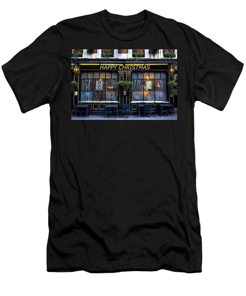 Pub Men's T-Shirt (Athletic Fit) featuring the photograph The Happy Christmas Pub by David Pyatt