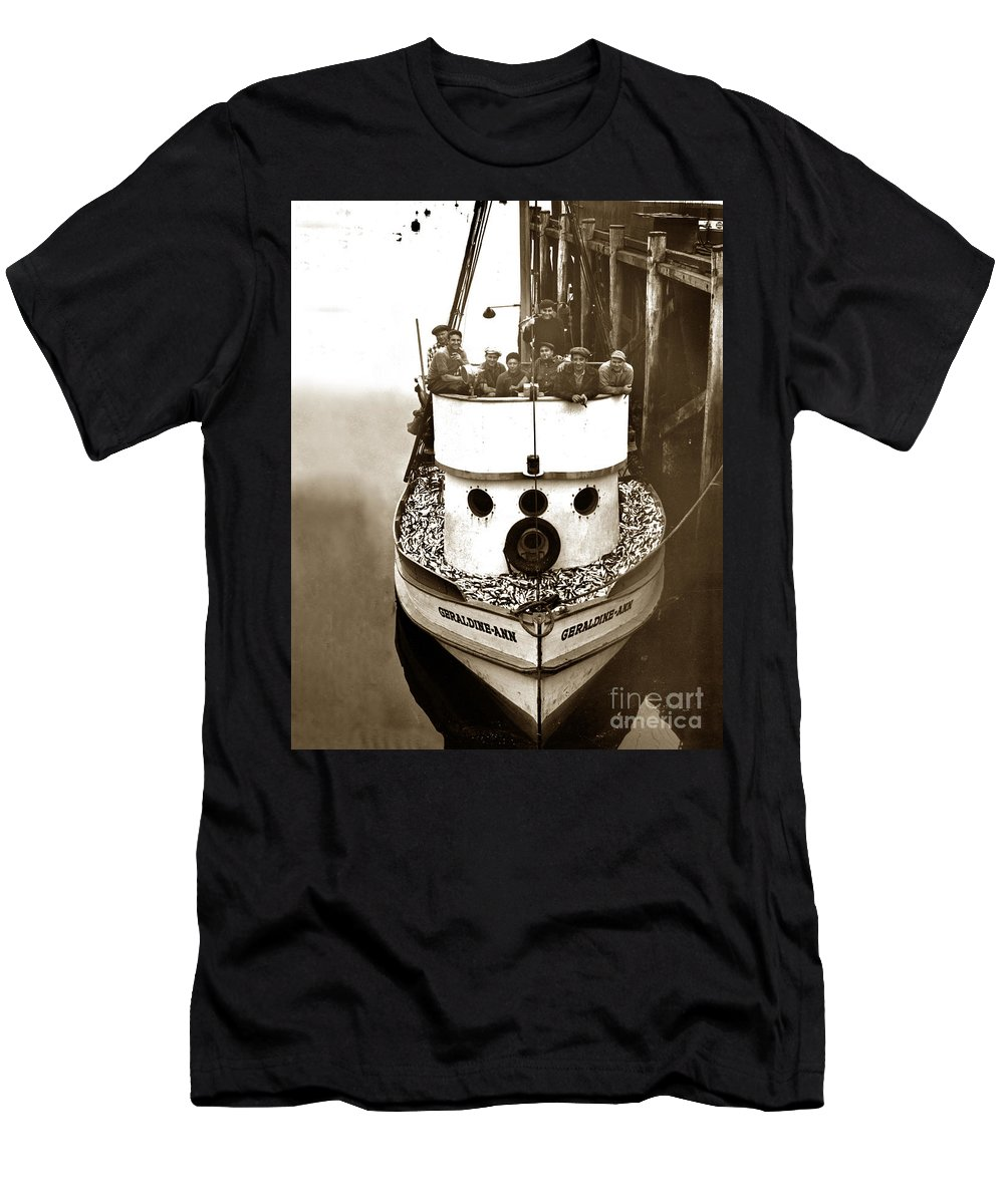 The Happy Crew Of The. Geraldine-ann Men's T-Shirt (Athletic Fit) featuring the photograph The Happy Crew Of The Fishing Boat Geraldine- Ann Monterey California 1939 by California Views Archives Mr Pat Hathaway Archives