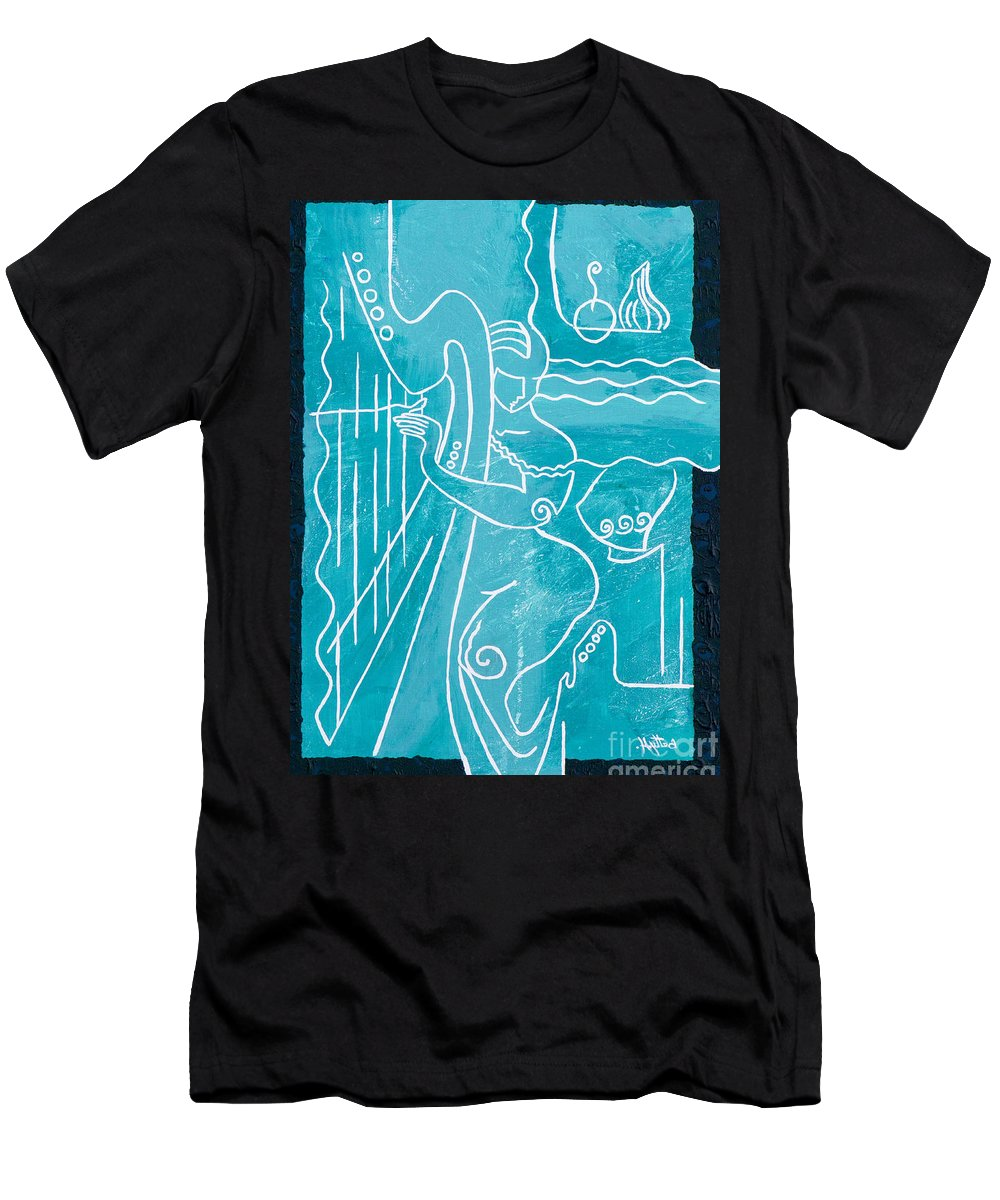 Female Forms T-Shirt featuring the painting The Harp Player by Elisabeta Hermann