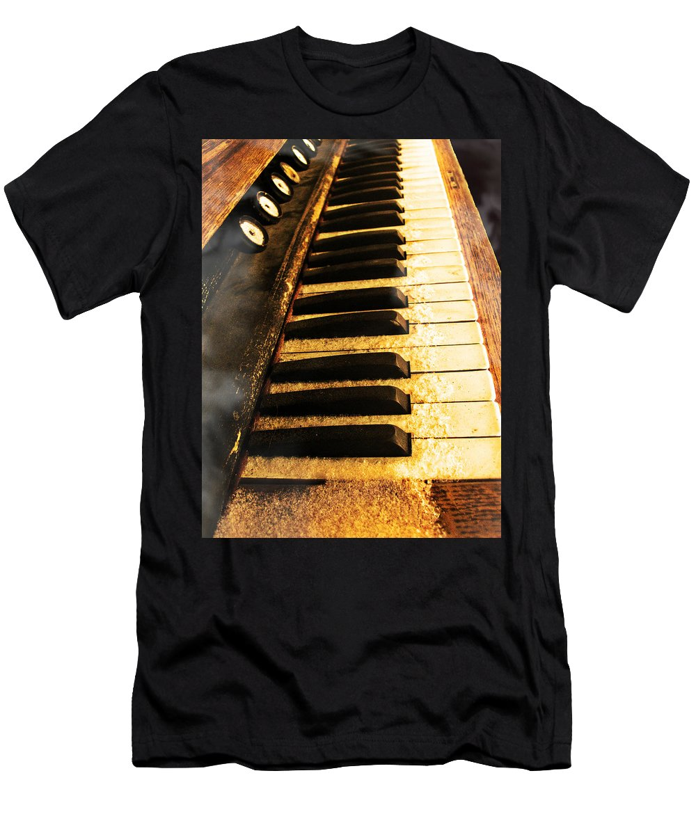 Piano Men's T-Shirt (Athletic Fit) featuring the photograph The Hazy Shade Of Winter by Kimberlee Marvin