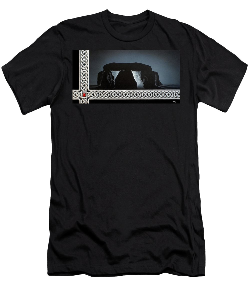 Celtic Knotwork Stonehenge Druid Beltane Solstice Dorset Glow Mystery Magic Wicca Men's T-Shirt (Athletic Fit) featuring the painting The Hellstones by Guy Pettingell