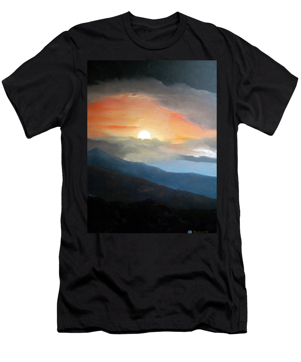 Oil Men's T-Shirt (Athletic Fit) featuring the painting The Highest Point by Sergey Bezhinets