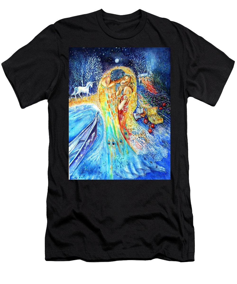 The Kiss Men's T-Shirt (Athletic Fit) featuring the painting The Homecoming Kiss After Gustav Klimt by Trudi Doyle
