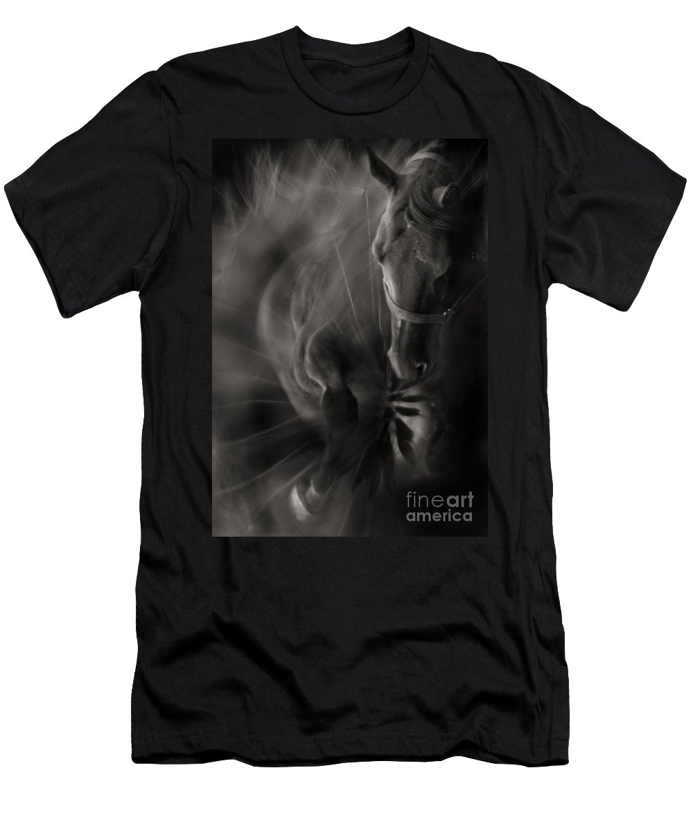 Abstract Men's T-Shirt (Athletic Fit) featuring the photograph The Horse And Dandelion by Angel Ciesniarska