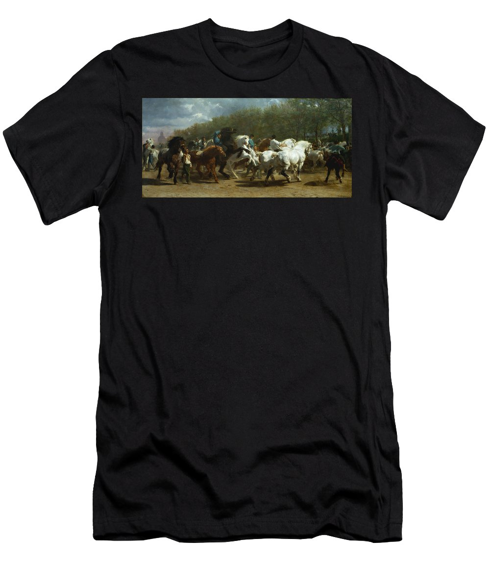 Rosa Bonheur Men's T-Shirt (Athletic Fit) featuring the painting The Horse Fair by Rosa Bonheur