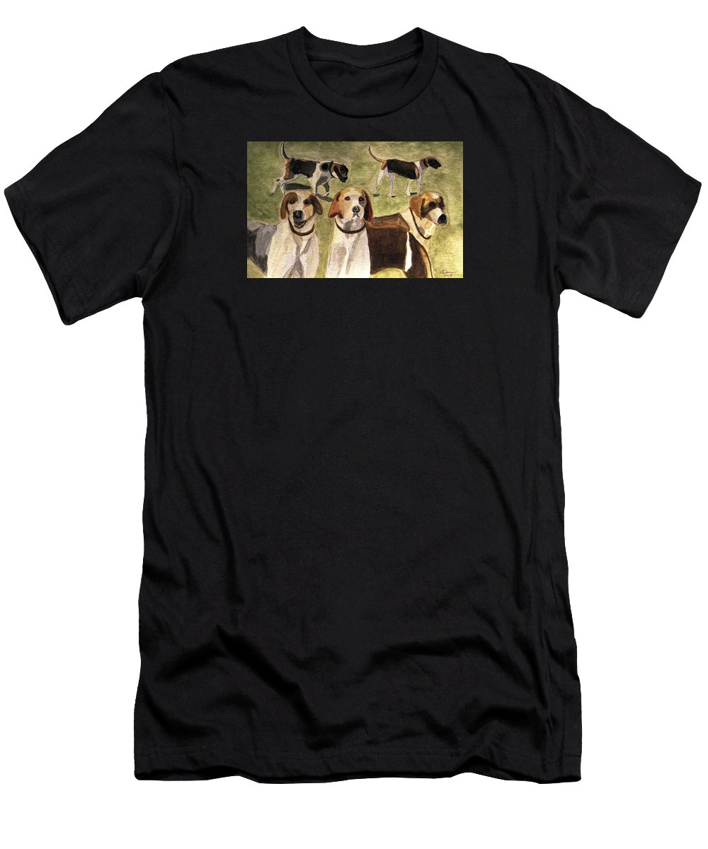 Foxhounds Men's T-Shirt (Athletic Fit) featuring the painting The Hounds by Angela Davies